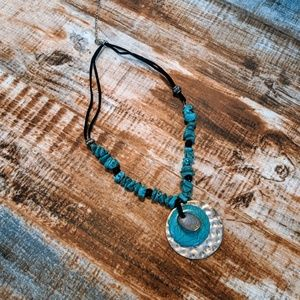 Turquoise, Leather and Silvertone Necklace